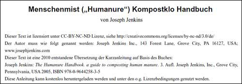 Humanure Manual in the German Language