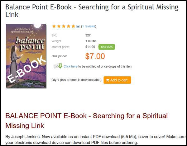 BALANCE POINT E-Book - Searching for a Spiritual Missing Link, by Joseph Jenkins.