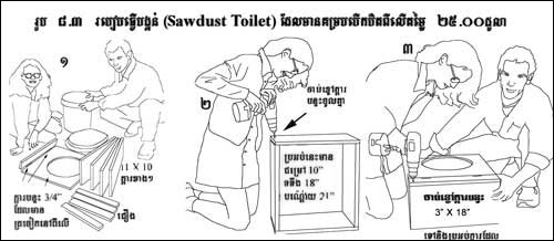 Khmer language humanure toilet building instructions