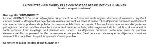 Humanure Handbook Condensed Instruction Manual in French