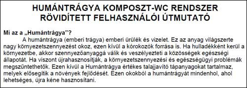 Hungarian Translation of Humanure Handbook Manual